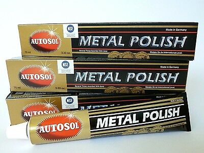 (5,11€/100 ml) 3 x 75 ml Autosol® Chrompolitur Metal Polish Chrom Reiniger