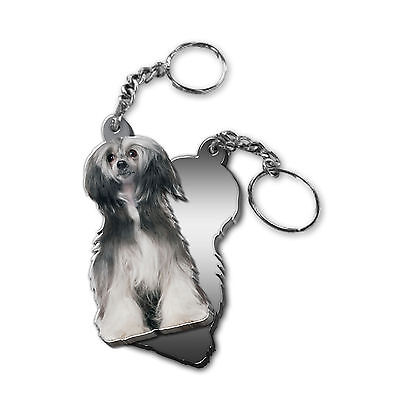 Got Yo Gifts Mirrored Acrylic Keyring Keychain NEW Chinese Crested Powder Puff