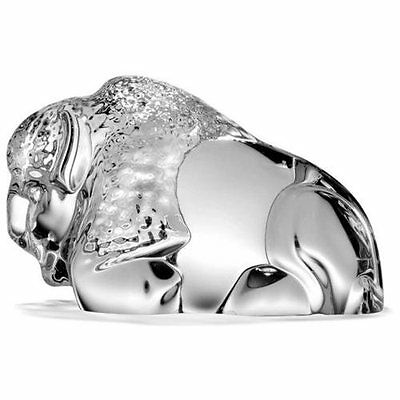 NEW STEUBEN Glass BISON Hand Cooler signed crystal BUFFALO