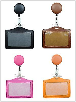 2 in 1 Leather PU Retractable Reel and Horizontal ID Badge Holder