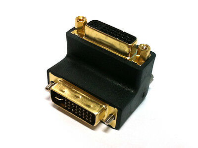 Gold DVI 24+5 Male to 24+5 Female Extension adapter right angled 90degree type