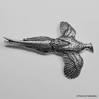 Pheasant in Flight Pewter Pin Brooch - British Hand Crafted - Shotgun Bird Hunt