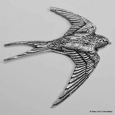 Swallow Pewter Pin Brooch - British Hand Crafted - Bluebird Jay Swift