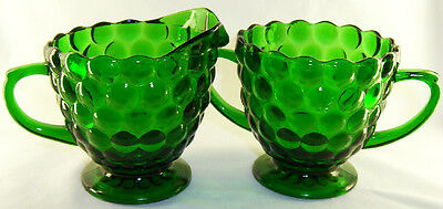 Anchor Hocking Glass Co. Bubble Forest Green Footed Creamer & Sugar Bowl Set!