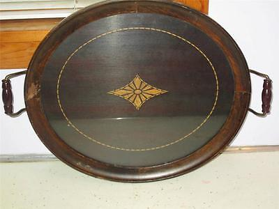 Antique Royal Rochester 14X12 Wood & Glass Tray With Brass Handles