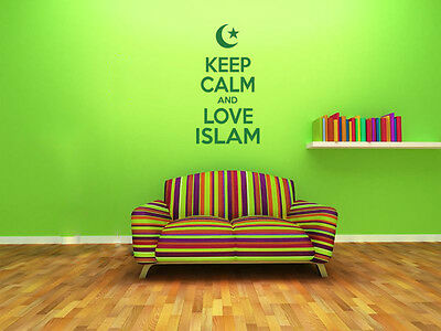 Keep Calm and Love Islam Wall Art Quote, Wall Sticker, Modern Decal Transfer
