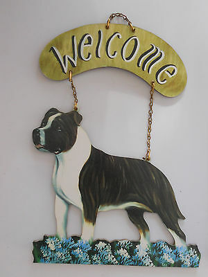 Colorful Indoor Dog Welcome Sign NEW Staffordshire Bull Terrier