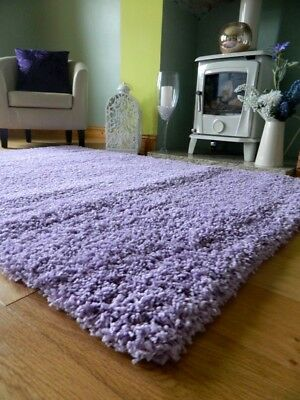 Small Medium X Large Lilac Purple Thick Soft Heavy Quality Shaggy Area Rug Mat