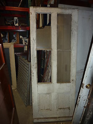 """19th century COUNTRY farmhouse ANTIQUE white door GLASS panels 79"""" x 31"""" x 1.5"""""""
