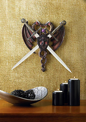 BRAND NEW!  Two Proud Dragons SWORD AND DRAGON COAT OF ARMS Polyresin