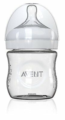 Philips Avent Natural Glass Bottle, 1 Count, 4 Ounce, New, Free Shipping