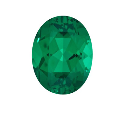 Oval Hydrothermal Lab Created Emerald Green Loose stones (4x2mm to 18x13mm)