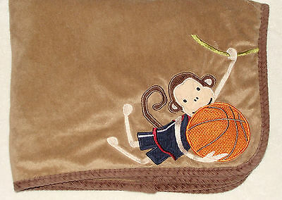 Lambs & Ivy Soft Brown Baby Blanket Basketball Monkey Sports
