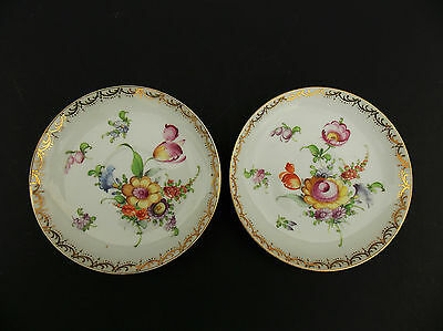 Pair of Antique P. Donath Tiefenfurth Silesia Germany Porcelain Saucers 1890s