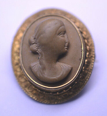 Antique Small 1 Inch Lava Cameo Pin Or Pendant With Etruscan Frame