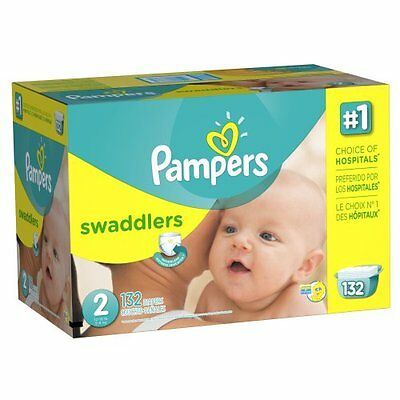 Pampers Swaddlers Diapers Size 2 Giant Pack 132 Count , New , Free Shipping