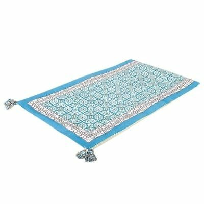 Blue and Grey 100% Cotton Printed Table Runner 130cm x 35cm