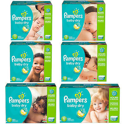 Pampers Baby Dry Diapers Select Your Size 1 2 3 4 5 6 New Value Pack