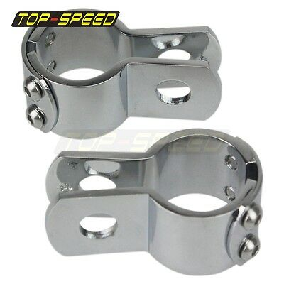 "Motorcycle 1 1/4"" Three-Piece Frame Clamps Chrome Set Engine Bar Footpeg Top"