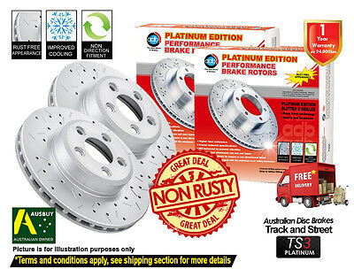FORD FPV F6 355mm 2005-2015 FRONT Slotted Drilled Disc Brake Rotors (2)