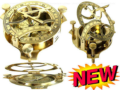 Solid Brass Sundial Compass Antique Maritime Portable Pocket Collection Gift NEW