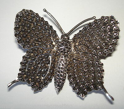 Antique Victorian solid silver butterfly brooch