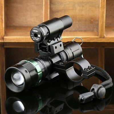 Tactical CREE LED Zoomable Flashlight Torch + Red Laser Sight Scope + Mount Ring