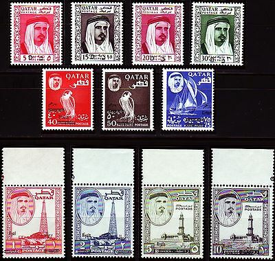 Qatar 1966 ** Mi.162/72 Freimarken Definitives, new currency surcharge