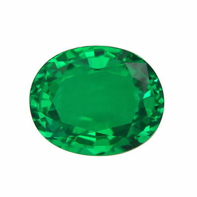 Lab Created Hydrothermal Colombian Emerald Green Oval Loose stone (4x2-12x10)
