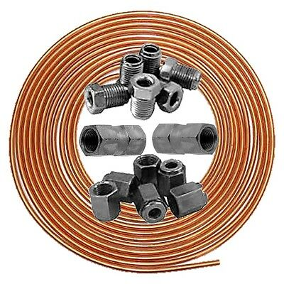 """Brake Pipe 3/16"""" Copper Line 25ft Joiner Male Female 3/8"""" Nuts Ends Tubing Kit"""