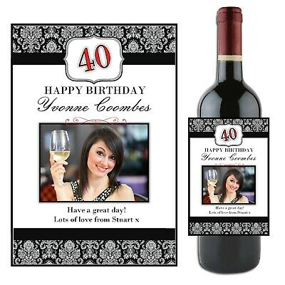 Personalised Happy Birthday Wine Champagne Bottle PHOTO Label Gift N50 ~ ANY AGE