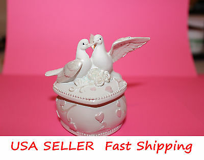 White Pigeon Jewelry Box Wedding Favor Valentine Thanksgiving Christmas Gift