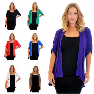 Womens Waterfall Cardigan  Plus Size Ladies Top Open Front Sweater Warm Nouvelle