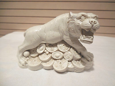 CHINESE/JAPANESE FOO DOG/FOODOG STATUE/FIGURINE--SITTING ON COINS