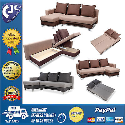 Corner Sofa Bed Storage Left Right Handed Cushions Brown Grey Plain Fabric