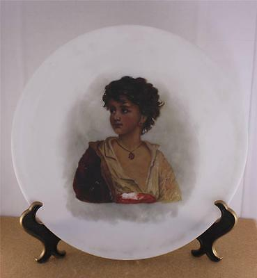 Fine Antique Blown Satin Glass Handpainted Portrait Plate Girl Young Woman