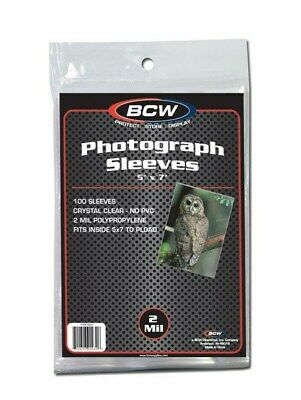 Pack of 100 BCW 5x7 Photo Acid Free Soft 2-Mil Archival Poly Sleeves