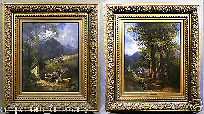 Pair of 19th Century Oil Painting Landscapes, Georg Geyer (AUSTRIAN, 1823-1912)