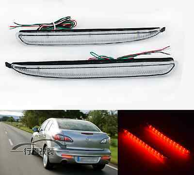 Clear Lens LED Rear Bumper Reflector Backup Tail Brake Fog Light For Mazda3 M3
