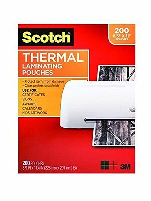 Scotch Thermal Laminating Pouches 8.9 x 11.4 Inches 3 mil, 200-Pack