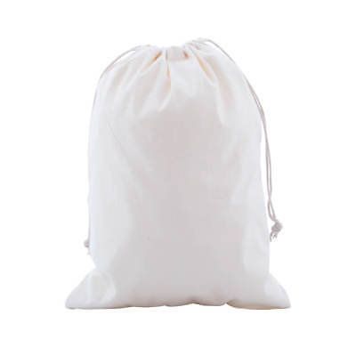 50 Calico Natural drawstring cotton bags 350mm x 250mm library tote reusable eco