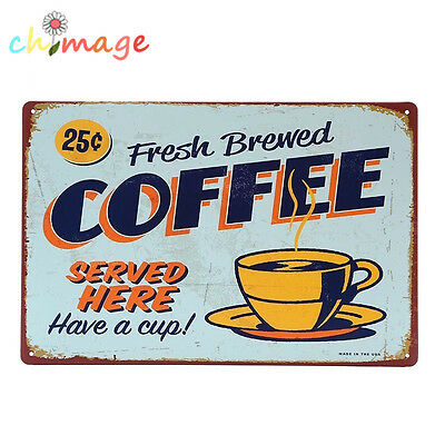 BREWED COFFEE vintage Tin Sign Bar pub home Wall Decor Retro Metal art Poster