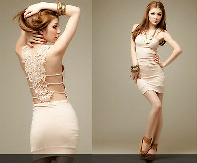 Women Lace Back Hollow Clubwear Party Cocktail Sexy Evening Mini Dress Canada
