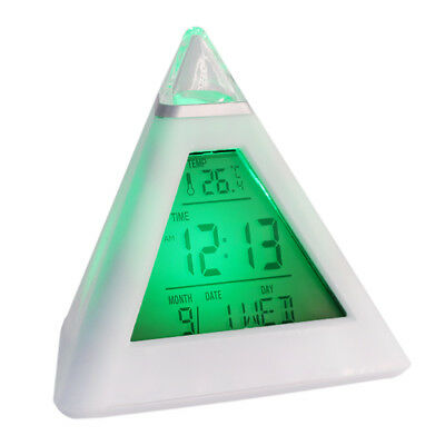 LCD Pyramid Triangle Clock Alarm Multi Color Night New