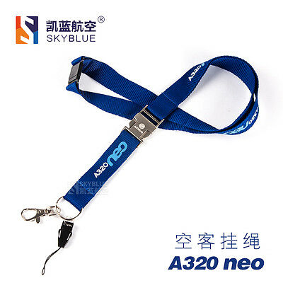 Airbus A320 neo Blue Lanyard Sling Belt with Metal Button for for Airlines Pilot