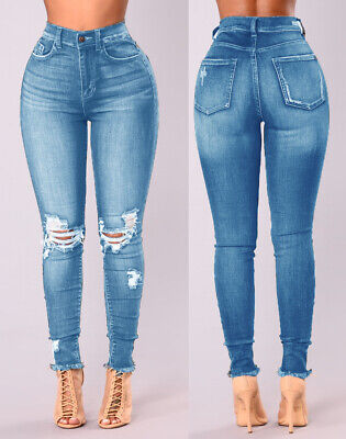 New Women's Ladies Extreme Ripped Distressed Hole Mom High Waisted Denim Jeans