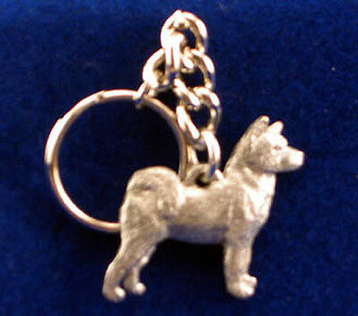 GG Harris Fine Pewter Dog Key Ring Chain & Pouch NEW Akita