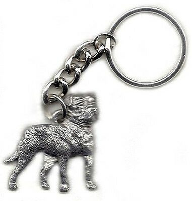 GG Harris Fine Pewter Dog Key Ring Chain & Pouch NEW American Bulldog