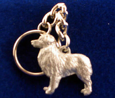 GG Harris Fine Pewter Dog Key Ring Chain & Pouch NEW Australian Shepherd