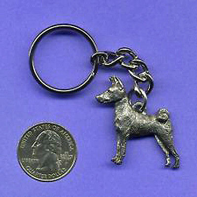GG Harris Fine Pewter Dog Key Ring Chain & Pouch NEW Basenji
